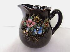 Brown Glazed Creamer Hand Painted Floral  Made In Japan
