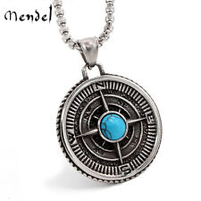 MENDEL Mens Vintage Nautical Compass North Star Pendant Necklace Stainless Steel
