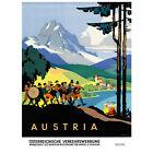 TRAVEL AUSTRIA ALPINE MUSIC BAND MOUNTAIN HORN DRUM ART PRINT POSTER 30X40 CM 12