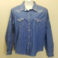 Panhandle XXL Shirt Top Blouse Western Blue Cotton Snap Down Front Jeweled Bling