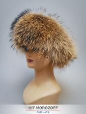 Raccoon Fur Hat Suede Top Roller Winter Schapka Pelzmütze Fellmütze Wintermütze