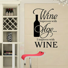 Wine Bottle Quote Word Decal Vinyl DIY Home Kitchen Room Decor Art Wall Stickers