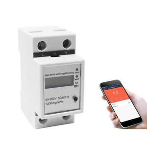 Din Rail WIFI Smart Energy Power Meter Wattmeter 110V 220V Voltmeter Ammeter