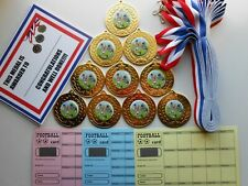 JUNIOR RUGBY MEDALS  X 10 - METAL 50MM/ RIBBON/CERTIICATE/QUALITY
