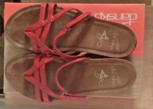DANSKO JENELLE SANDALS, Red Patent Leather, Size 7.5-8 US / 38 EUR