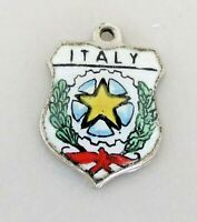ITALY Vintage REU Antique Silver Enamel Travel Shield Charm REU