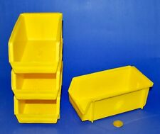 4-Pack Plastic Stackable Tool Supply Small Part Storage Container Box Bin Yellow