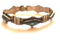 Vintage Mexican abalone shell sterling silver taxco bracelet triangles womens