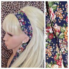 NAVY FLORAL FLOWER PRINT RETRO COTTON HEADBAND HAIR SCARF SELF TIE BOW VINTAGE