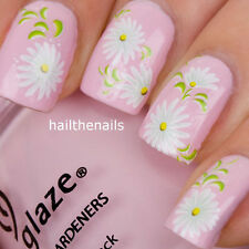 Nails Nail Art Water Transfers Decals Wraps White Daisy Flower Y85 Wedding