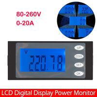 AC 80-260V 20A Voltmeter Amperemeter LED Dual Digital Volt Amp Meter  peacefair