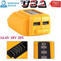 Dual USB Mobile Battery Charger Adapter For Dewalt 14.4V 18V 20V Slide DCB090 YT