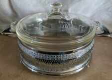 Vintage Round Casserole Pyrex Dish with etched lid ornate pierced metal carrier
