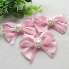 8CM Large Satin Ribbon Flowers Bows w/pearl Wedding Decoration 18pcs Lots