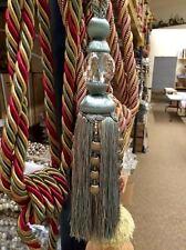 "12"" Faceted Glass Crystal Tassel Curtain Tieback Sctb-16/39-3 (Beige & Aqua)"