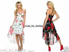 SEXY OCCASION PARTY FLORAL HIGH LOW CHIFFON LOOK DRESS. UK 8/10 EU 36/38.