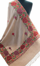 Floral Crewl Embroidered Beige Wool Shawl From India Green Leaves Pashmina