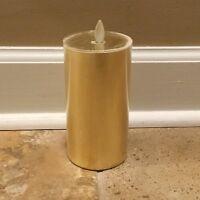 NEW Pottery Barn Premium Flicker Flameless Gilt Pillar Candle GOLD *Minor Issue*
