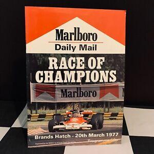 1977 RACE OF CHAMPIONS BRANDS HATCH GP F1 PROGRAMME JAMES HUNT JODY SCHECKTER