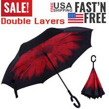 C-Handle Double Layer Umbrella Windproof Folding Inverted Upside Down Reverse zP