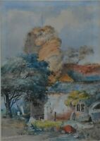 """J.Morris """"Chingford Church"""" in London Essex Signed and Dated 1955 Watercolour"""