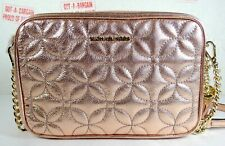 Michael Kors Quilted Floral Light Rose Leather Camera Medium Crossbody Bag