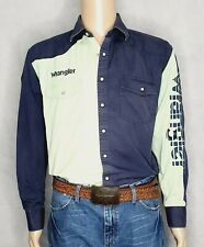 Wrangler Men's Logo Rodeo long Sleeve Shirt Mint Green / Blue Size L