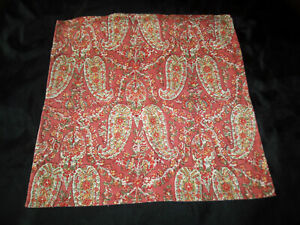 Pottery Barn 20x20 Floral Paisley Throw Pillow Cover Rust Red Green Blue Yellow