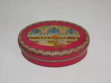 """VINTAGE KITCHEN P & S PAGE & SHAW 8 1/2"""" OVAL TINDECO CANDY TIN BOX  *EMPTY*"""