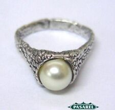Sterling Silver Fresh Water Pearl Ring Israel 1990s