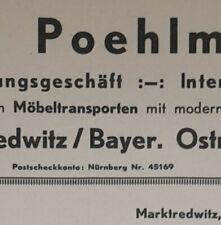 ALTE RECHNUNG MARKTREDWITZ BAYER. OSTMARK VERZOLLUNGSGESCHÄFT W  POEHLMANN 1936