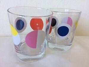 Retro Bright Spotty Whisky Glasses X 2 . Polka Dot Mod Style, Rare!!!!