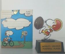 Vintage Peanuts Snoopy Worlds Greatest Football Player Aviva Trophy Mint In Box