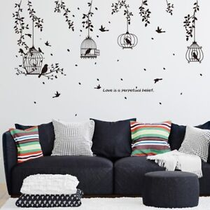 Black Birdcage and Leaves Silhouette Pattern Wall Stickers Decorative Sticker