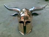 Brass Medieval Viking Barbarian CORINTHIAN Helmet with steel horns Halloween HQ