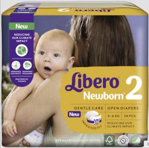 Pannolini Libero Newborn 2 (3-6 kg) 1 pacco (34 pz) o 6 pacchi (204 pz)
