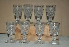 """8 Cape Cod Imperial Glass Clear Cordial Glasses Pressed 3.75"""" Fancy Stem"""