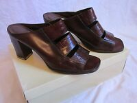 WOMEN'S ENZO ANGIOLINI UPDATE BROWN CROC LEATHER SLIP-ON OPEN-TOE HEELS SIZE 8