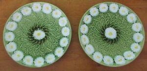 Set of 2 Antique Schramberg Germany Majolica Daisy Plates