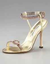 Manolo Blahnik Jeweled Strap Sandal, Gold  Eu 40  Us 10 Runs small 9.5 $1065