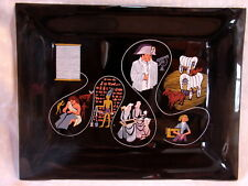 150 Years Coats & Clark THE HISTORY OF THREAD Smoke Glass Trinket / Notion Tray