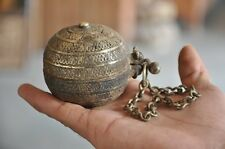 Old Brass 1940's Engraved Handcrafted Ball Shape Lime Powder / Paste Box