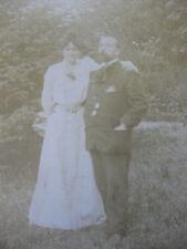 Photographie ancienne cabinet couple dans un parc 1902 Franconville Val-d'Oise