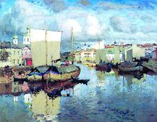 Oil painting Gorbatov Konstantin - Life on the River Pskov landscape & sail boat