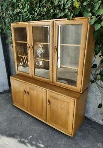 ERCOL WINDSOR 3 DOOR GLAZED CABINET - Bookcase Display Mid Century Modern VGC