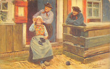 Joh Gerstenhauer 1908 Artist Signed Postcard Dutch Girl Knitting Friends