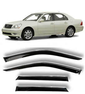 Chrome Trim Side Window Visors Guard Vent Deflectors For Lexus LS Sd 2001-2006