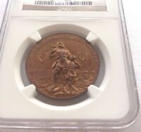 Switzerland 1898 Bronze Shooting Medal Neuchatel NGC MS64 Mintage-100 R-975b