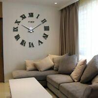 Wall Clock Sticker Home Decor Large Roman Mirror Fashion Modern Quartz  DIY 3D