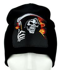 Burning in Hell Grim Reaper Beanie Alternative Knit Cap Death Scythe Psychobilly